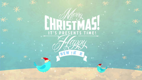 storage publicity for buying display on xmas with classical typography over freeze landscape with Animation