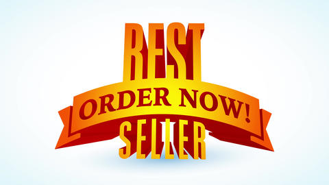 best seller order now written on 3d figure sticking out from white background for famous store sign Animation