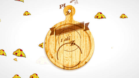 italian pizza restaurant 50s futuristic style branding carved on timber over rounded carving board CG動画