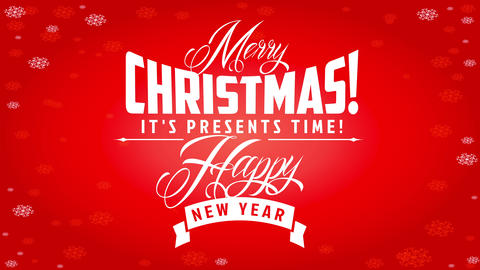 white calligraphy over red background with snowflakes frame for merry christmas and new years Animation
