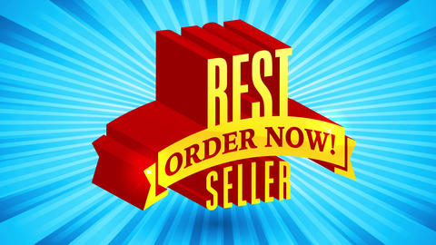 3d formation with lettering for publicity on best seller asking to order now floating on sunburst Animation