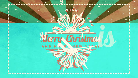 business holiday card wishing employees merry christmas and happy new year with retro look and Animation