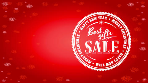 excellent gifts agreement billboard with rounded emblem over red background with snowflakes Animation