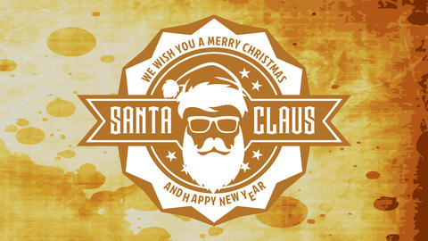 grunge merry christmas and happy new year sign with hipster santa claus head over stained background Animation