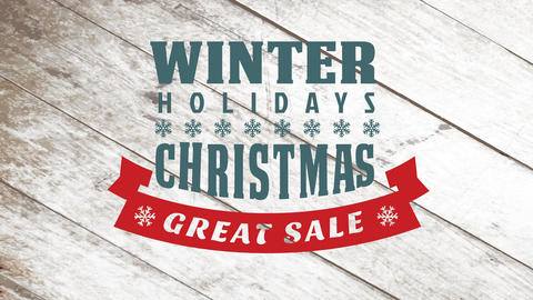 winter holidays typographic ad for great christmas sale with snowflakes decoration over old wooden Animation