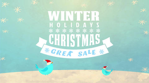 winter holidays great sale announcement with lettering over a christmas scene with birds snow and Animation