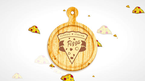 classical italian pizzeria icon with a pizza slice design engraved on a wooden clipping board CG動画