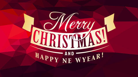 merry christmas and happy new year card cover art with classic calligraphy over ruby abstract Animation