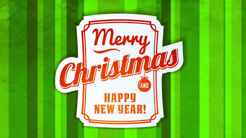 classic christmas and new years card cover with small white emblem over green background with long Animation