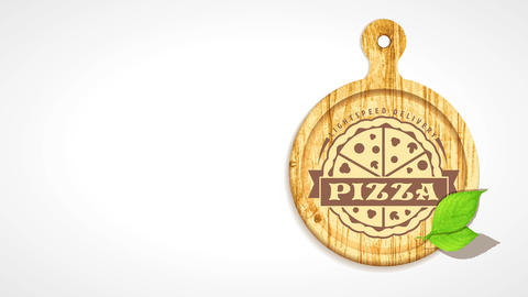 pizza place light velocity delivery selling sign with wood cutting board presenting engraved design CG動画