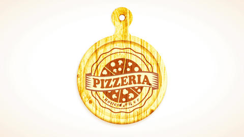 sliced pizza carved on wooden cutting board with wavy edges and ribbon over for pizzeria CG動画