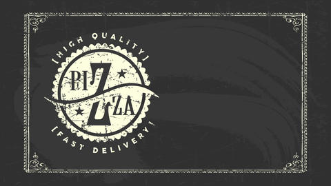 fast delivery service for high quality pizza dining room with conceptual chalk design drawn on black CG動画