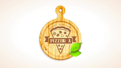 authentic italian flavour pizzeria ad with graphic of pizza slice on wooden rounded board with CG動画