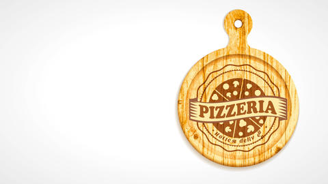 sliced pizza cut on wooden clip board with wavy boundary and award over for pizzeria CG動画