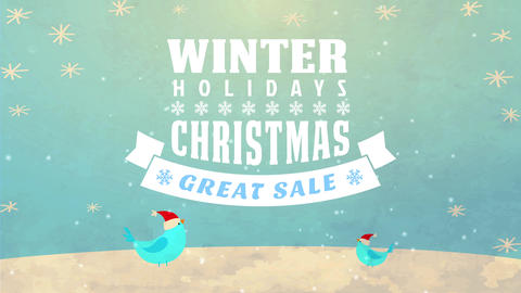freeze leisure excellent selling announcement with printing over a xmas scene with vertebrate snow Animation