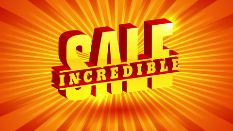 incredible sale promo for discount offer with 3d lettering over golden orange and yellow rays Animation