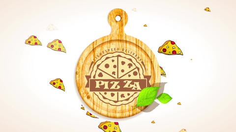 pizza setting light velocity delivery promotion mark with wood clipping board presenting carved CG動画