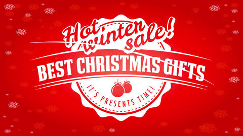 hot winter sale publicity offering best christmas gifts with white emblem over red shiny snowy Animation