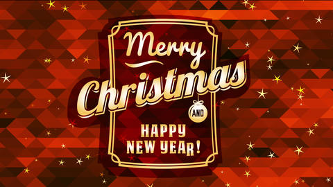 merry xmas and cheerful new year over a red shape mosaic and classical typography Animation