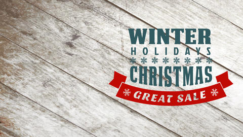 seasonal vacation typographic announcement for great christmas transfer with flake ribbon over aged Animation