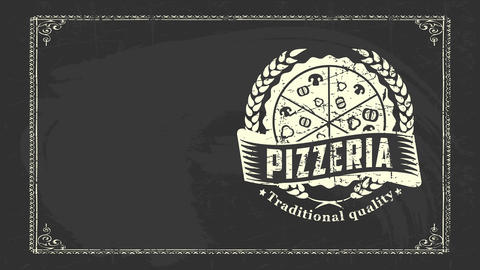 grunge old-fashioned fancy sign board for famous pizzeria offering formal quality product direct CG動画