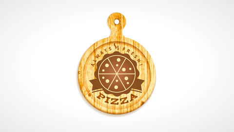 old italian pizzeria sign board offering always fresh product with burned carved pizza design on CG動画