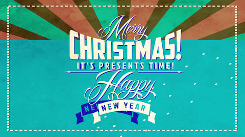 vintage merry christmas and happy new year sign with classic calligraphy and layered background with Animation