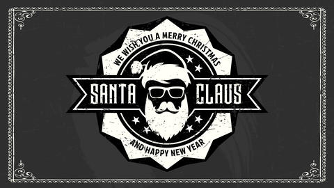 rock and roll merry christmas and happy new year ad with stylish santa claus on black chalkboard Animation