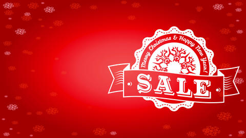 seasonal season sale advertisement mind with christmas fancy badge and flake diminishing on red Animation