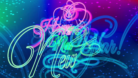 disco style happy new year party ad with embellished neon calligraphy over dark background with Animation