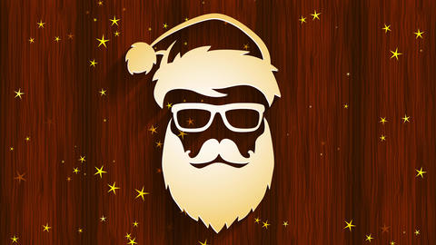 warm vogue santa claus claus head wearing hipster sunglasses and long beard with voluptuous look Animation