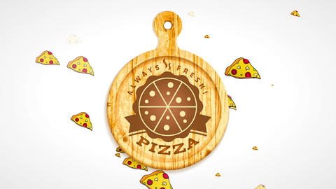 old italian pizzeria sign board offering always fresh product with burned cut pizza design on wooden CG動画
