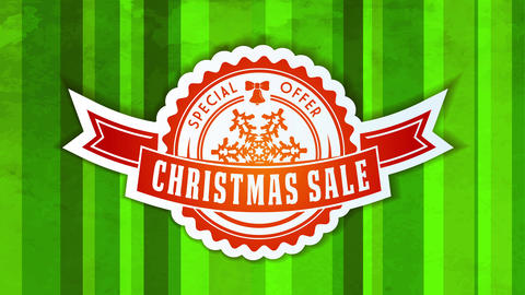 special christmas sale offer with small rounded icon with ribbon and snowflake graphic over season Animation