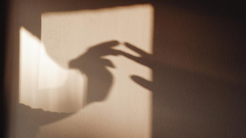 Shadows of hands on the wall. Games with light and shadow. Abstract shadows Live Action