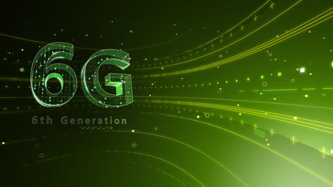 6G Digital Network technology 6th generation mobile communication concept background 6 green2 4k Animation