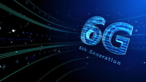 6G Digital Network technology 6th generation mobile communication concept background 6 blue 4k Animation