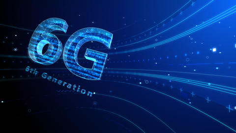 6G Digital Network technology 6th generation mobile communication concept background 6 blue2 4k Animation