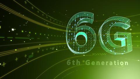 6G Digital Network technology 6th generation mobile communication concept background 6 green 4k Animation