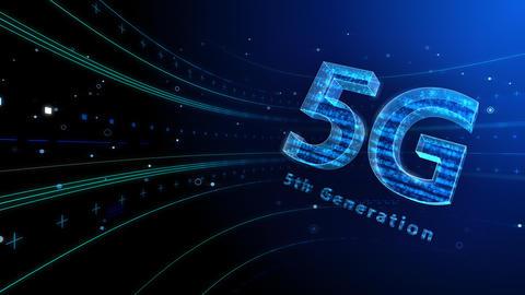 5G Digital Network technology 5th generation mobile communication concept background 6 blue 4k Animation