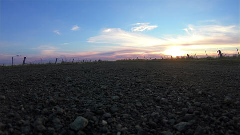 Country gravel between two fields at sunset. Beautiful clouds in a colorful sky Live Action