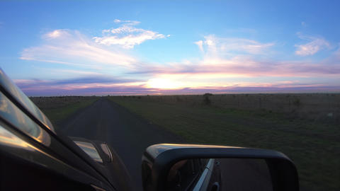 POV view drivers perspective of road in Australia, view from car window, Beautiful clouds in a Live Action