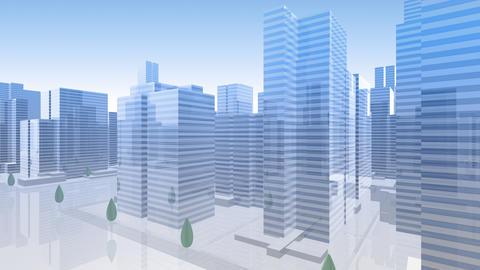 City Building Simple Modern Skyscraper business street background Ha2 sky 4k Animation