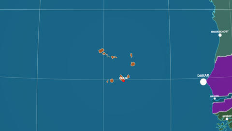 Zoom-in on Cape Verde outlined. Administrative Animation