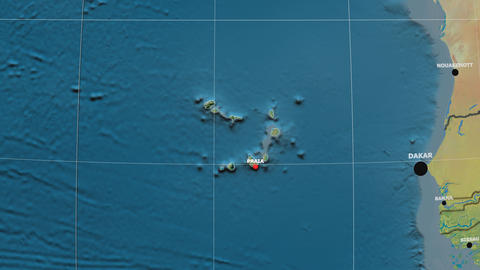 Zoom-in on Cape Verde outlined. Topographic Animation