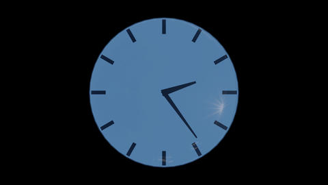 Clock with reflection of the sunny sky on glass against, alpha channel, loop Animation