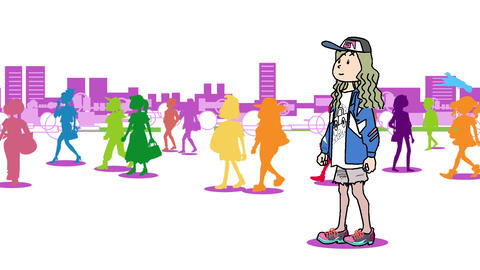 A woman walking in the city01 Animation