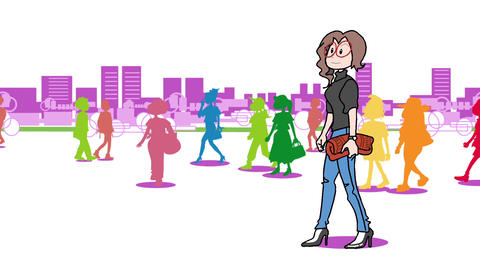 A woman walking in the city02 Animation