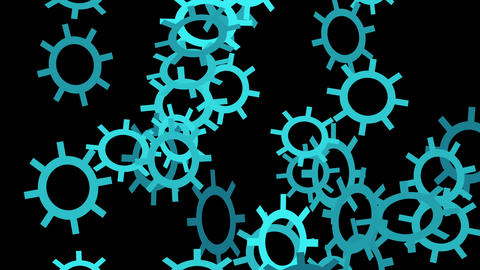 blue Falling gears Shapes Animation Animation
