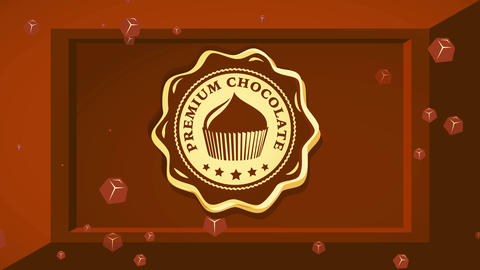 fancy chocolate product brand with delicious cake detailed on center of cacao bar square with 3d Videos animados