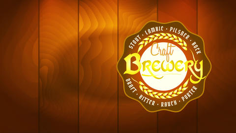 craft brewery promotion with yellow oats branches icon representing quality and artistic tasting Videos animados